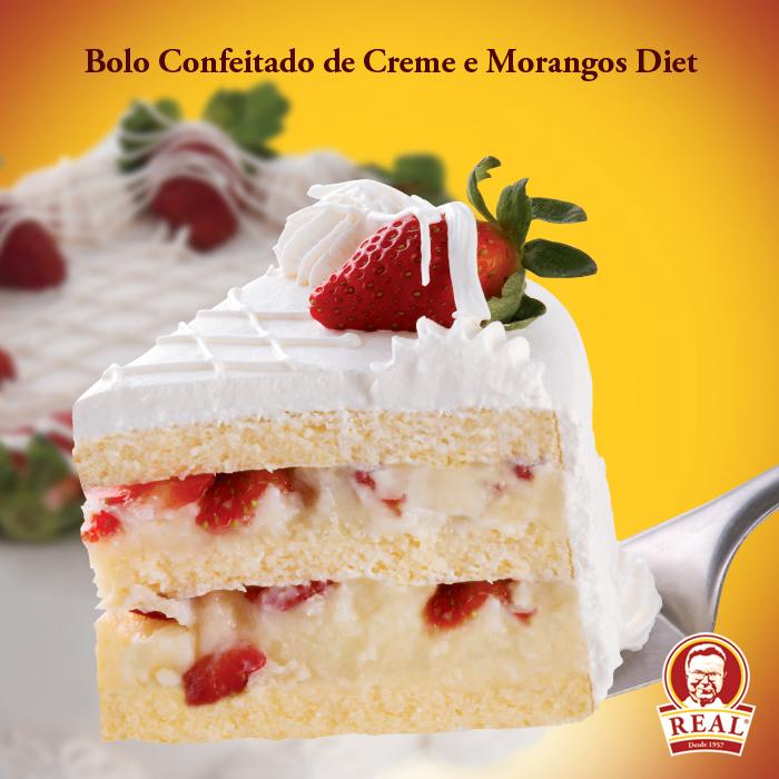 Bolo Confeitado de Creme e Morangos Diet_Padaria Real