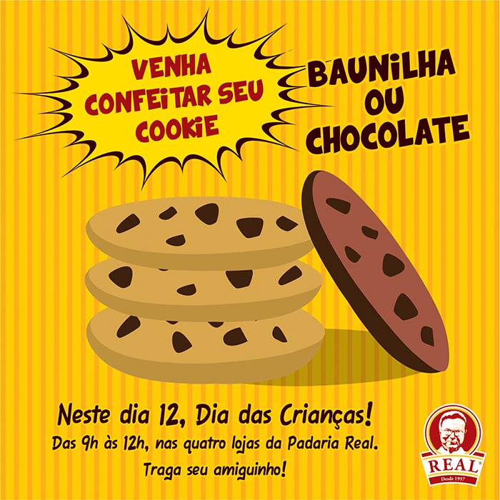 Cookies Turminha Real_Padaria Real_Chocolate_Baunilha ou Chocolate_Padaria Real