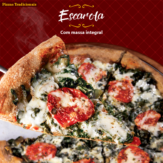 Pizza de Escarola, com massa integral